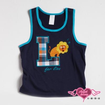 【天使霓裳-童裝】字母L獅 潮流帥氣無袖背心(深藍)