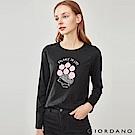 GIORDANO 女裝趣味動物印花長袖T恤-22 標誌黑
