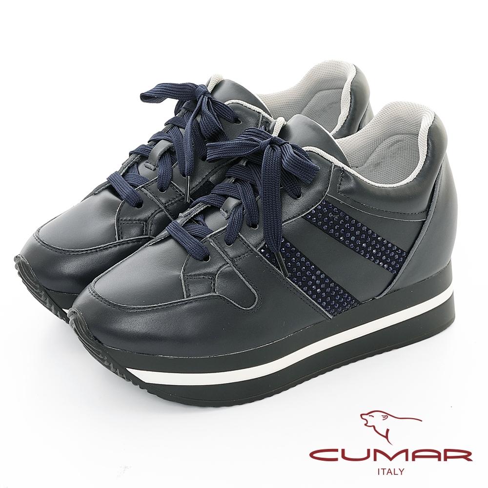 【CUMAR】休閒主義-簡約休閒側邊燙鑽綁帶多層次厚底休閒鞋-深藍