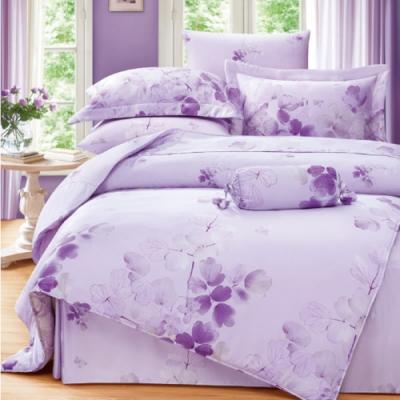 Saint Rose頂級精緻100%天絲兩用被床包組(包覆高度35CM)-卉影紫-加大