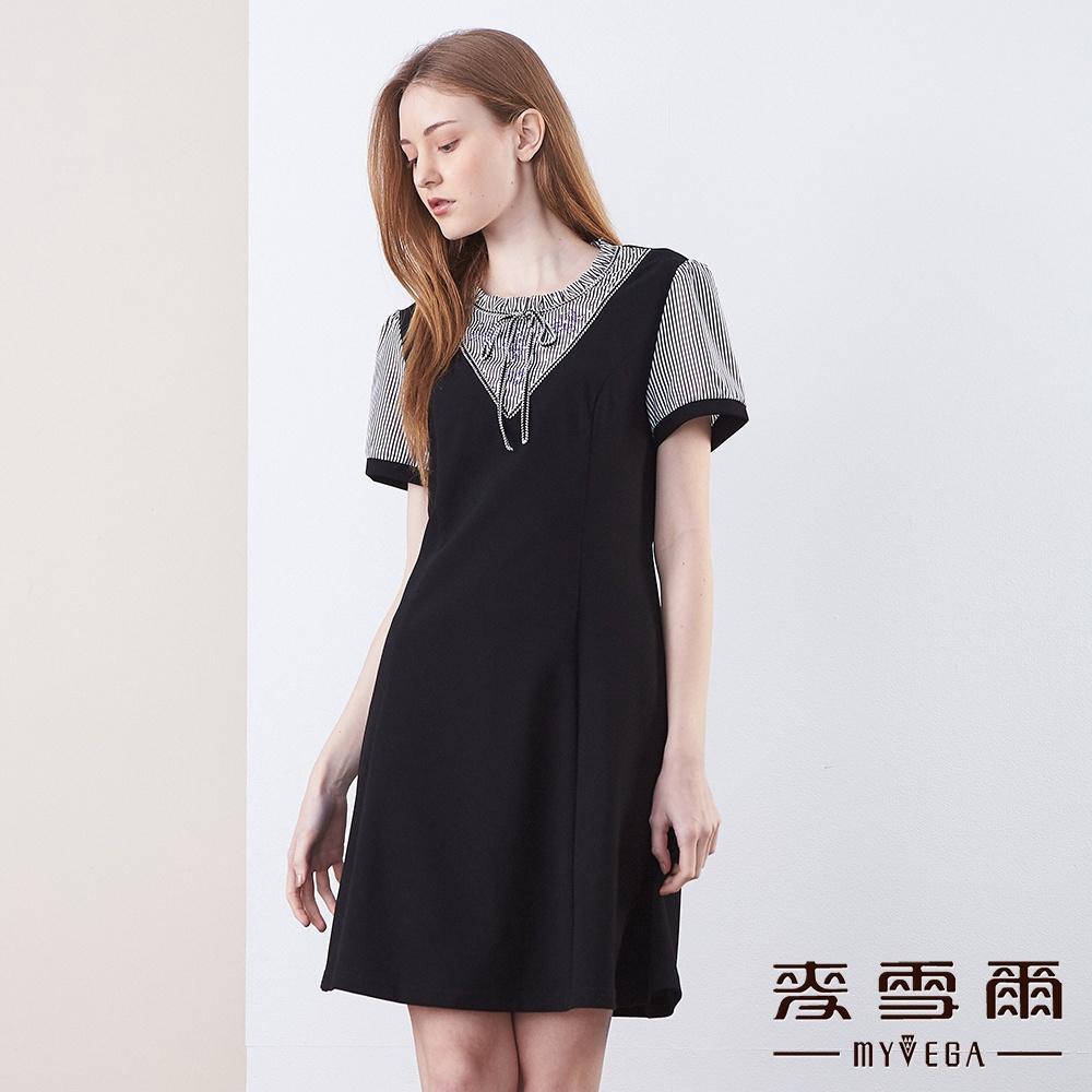 【麥雪爾】氣質蝴蝶結花邊領直紋拼接洋裝 @ Y!購物