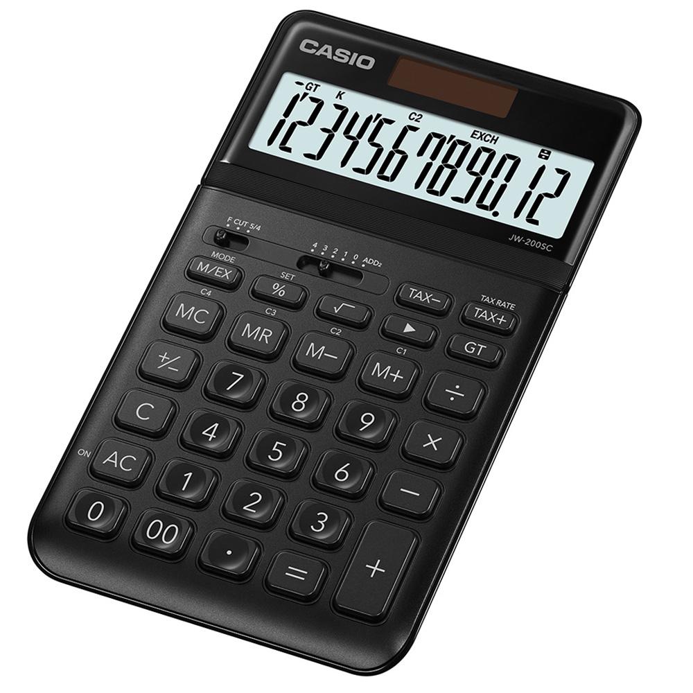 CASIO 12位元時尚霧面系列桌上型計算機(JW-200SC-BK)-耀岩黑