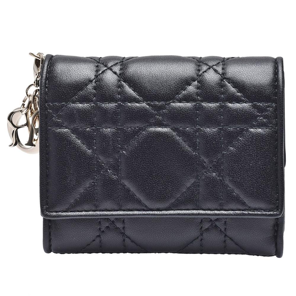 Dior 經典LADY DIOR系列小羊皮三折短夾(黑色)