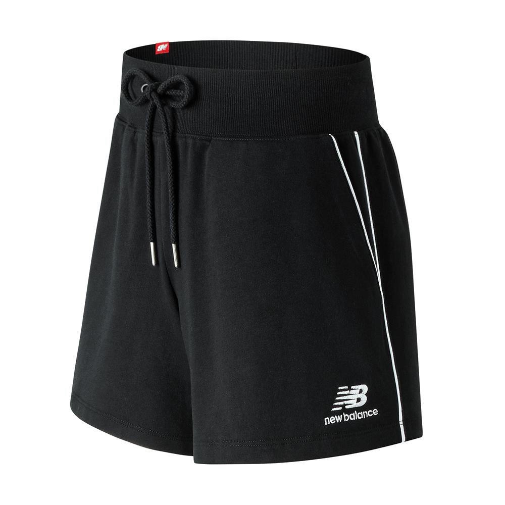New Balance經典條紋滾邊針織短褲AWS91592BK_女_黑