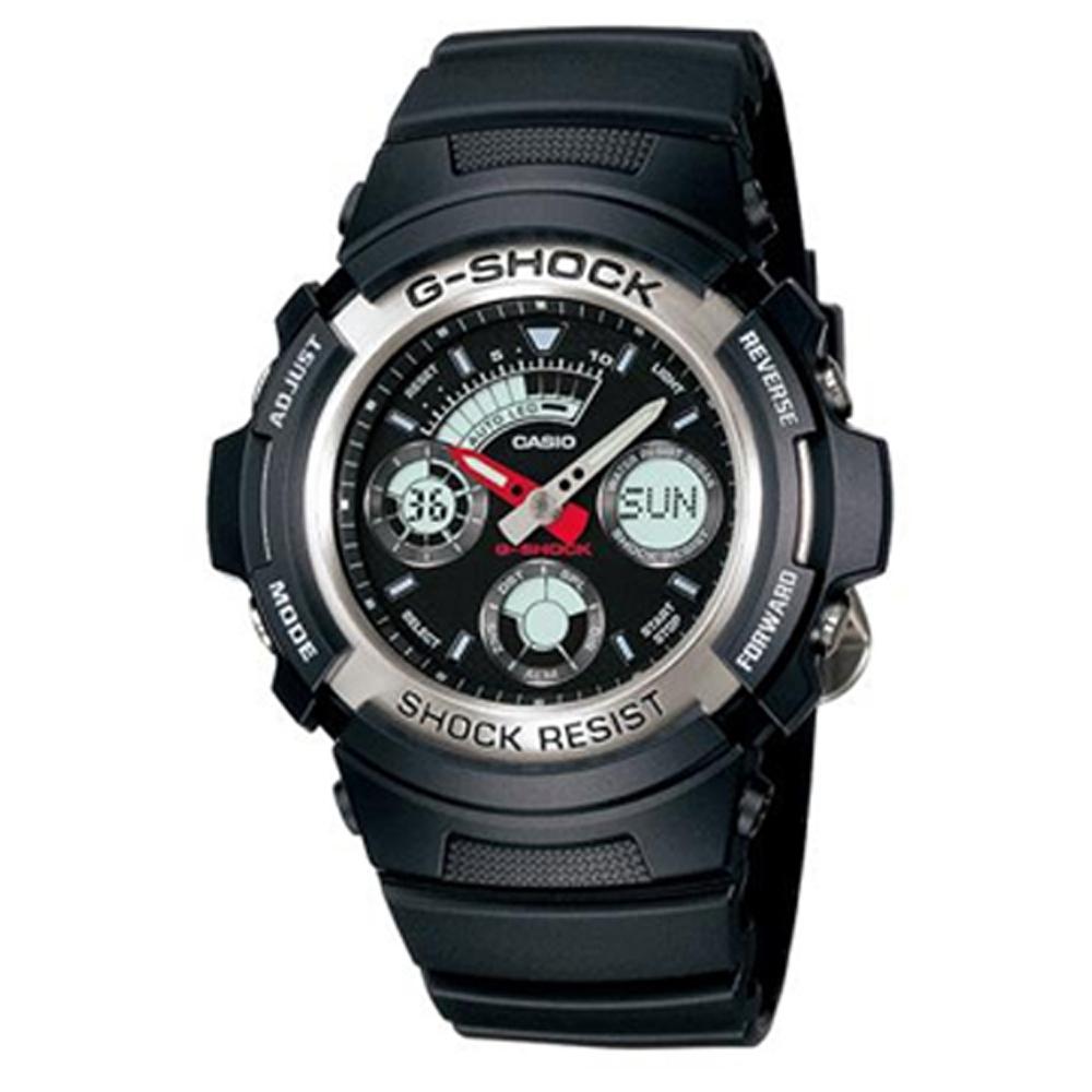 G-SHOCK 極速先鋒運動雙顯錶(AW-590-1A)-炫銀框/44.6mm