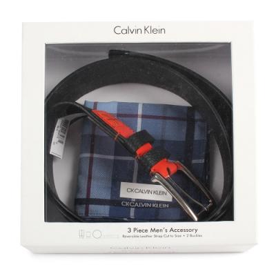 Calvin Klein 經典拼接荔枝紋穿釦式皮帶帕巾禮盒-黑/橘色