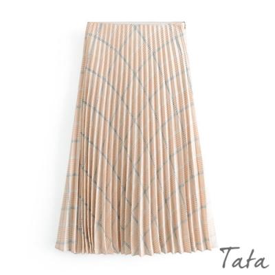 撞色格紋樣式百摺裙 TATA