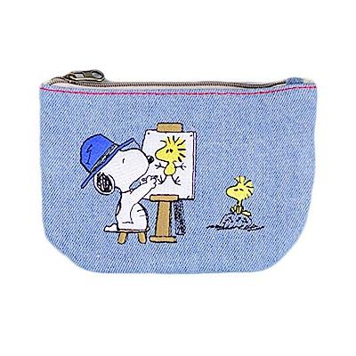 《sun-star》SNOOPY丹寧刺繡系列面紙化妝包(天空藍)