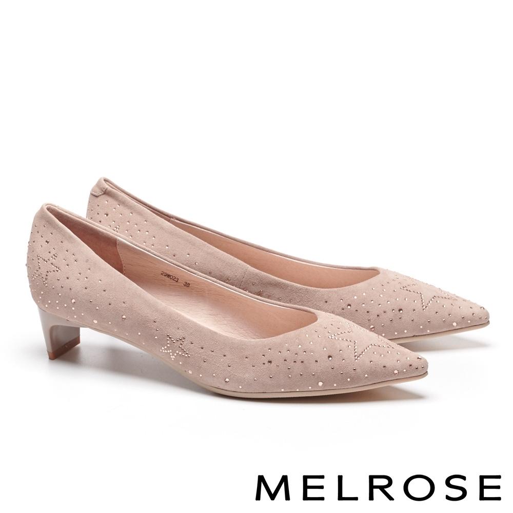 低跟鞋 MELROSE 知性典雅晶鑽麂皮尖頭低跟鞋-杏