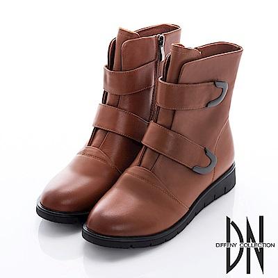 DN 英倫風格 拼接牛皮造型拉鍊中筒靴-咖