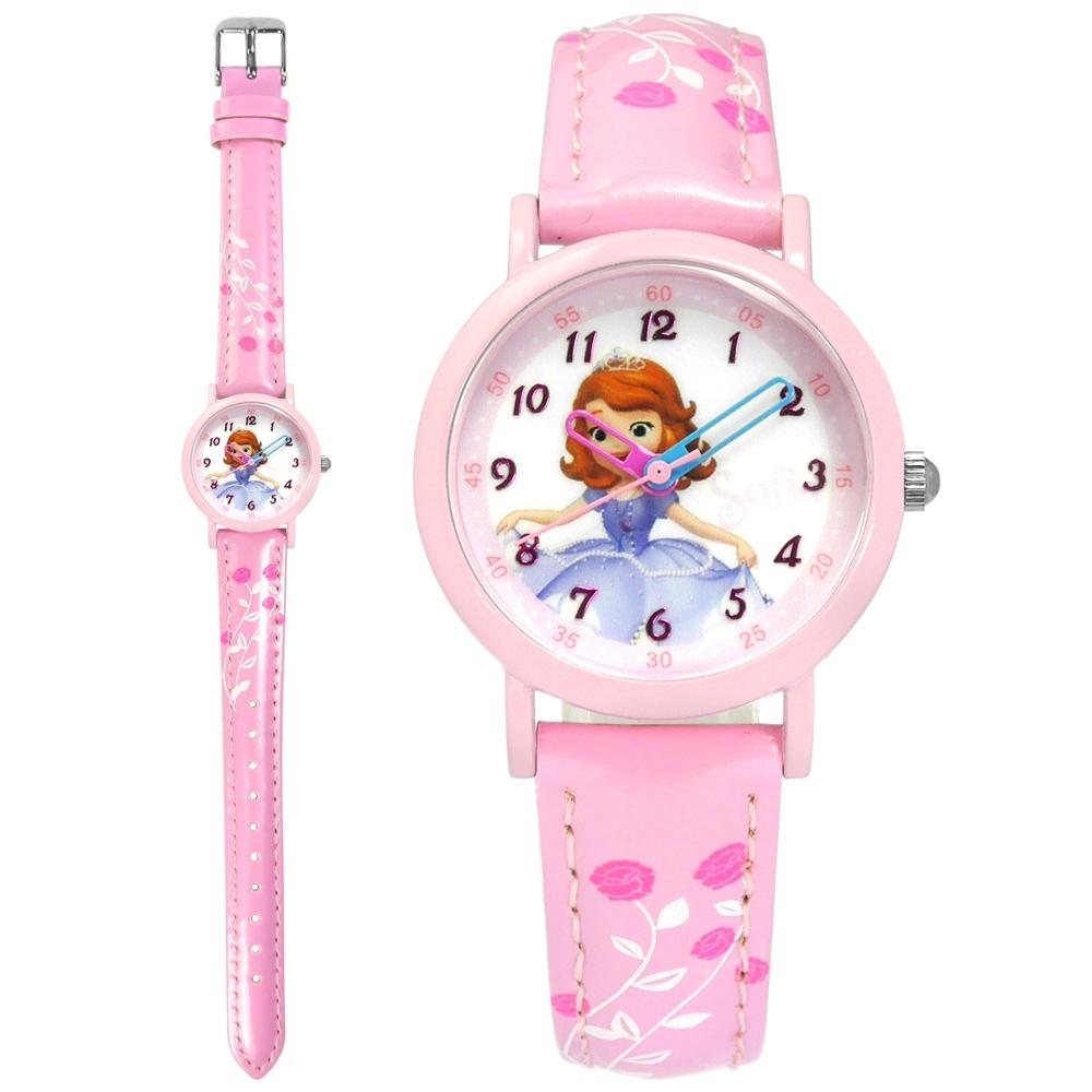 Disney 迪士尼 小公主蘇菲亞 日本機芯 兒童錶 卡通錶 皮革手錶-白x粉/28mm