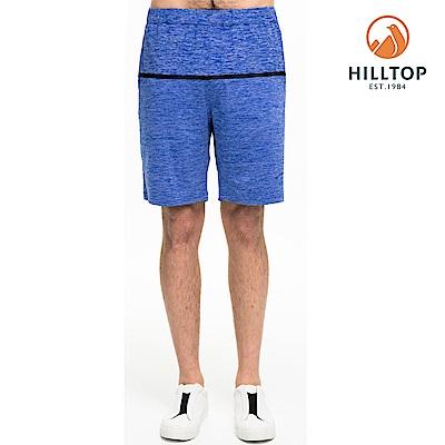 【hilltop山頂鳥】男款吸濕快乾抗菌彈性抗UV短褲S09M74藍紫