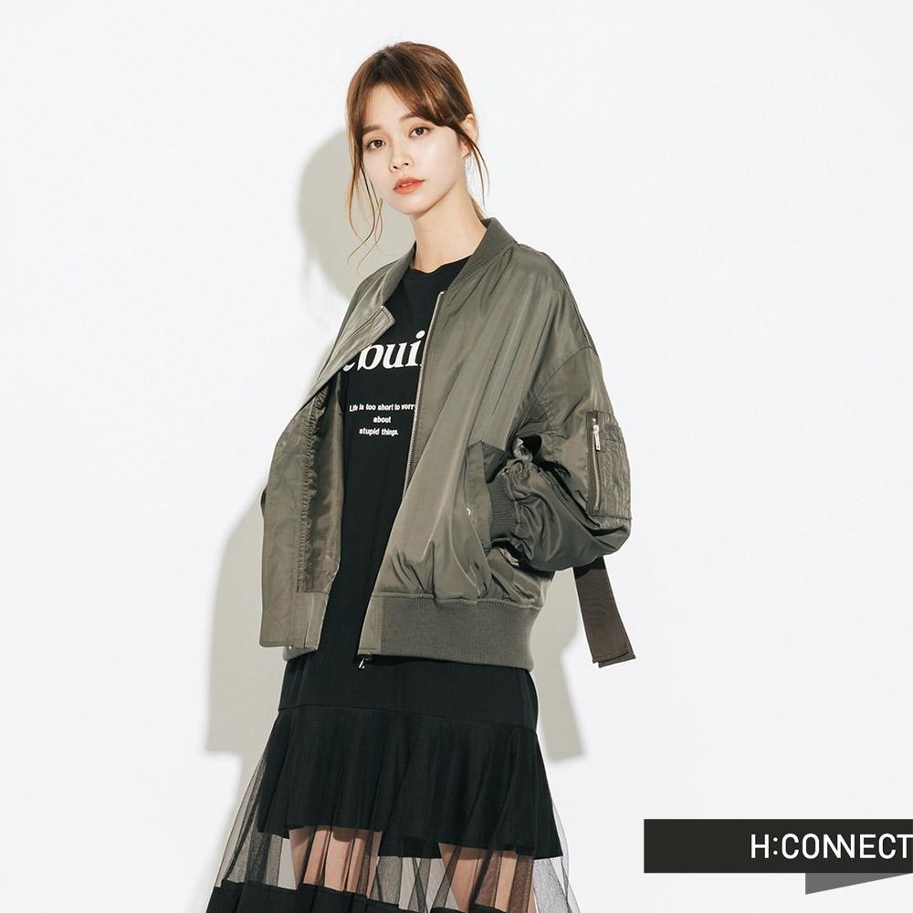 H:CONNECT 韓國品牌 女裝-抓皺造型飛行外套-綠