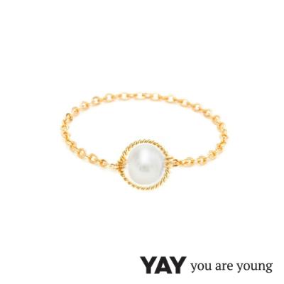 YAY You Are Young 法國品牌 Riviera 白珍珠鍊戒 金色圓形款