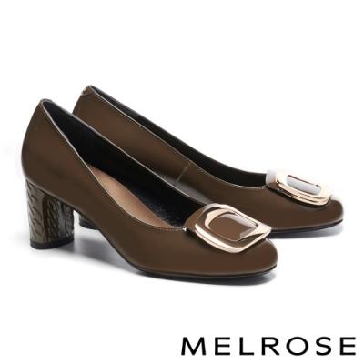 高跟鞋 MELROSE 知性方型金屬釦飾牛皮方頭高跟鞋-綠