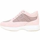 HOGAN Interactive H 金蔥麂絨後跟壓紋繫帶休閒鞋(粉色)