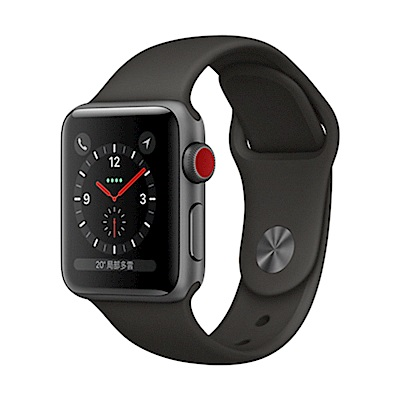 Apple Watch S3 行動網路 38mm 太空灰色鋁金屬錶殼+灰色運動錶帶