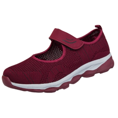 韓國KW美鞋館-輕柔舒適飛織輕量跳舞休閒鞋 紅