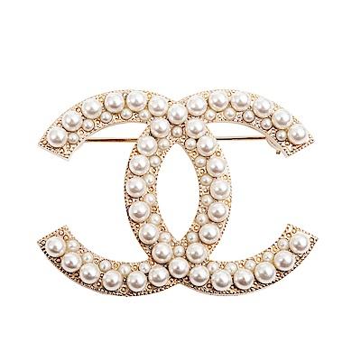 CHANEL 經典雙C LOGO鑲珍珠大款胸針
