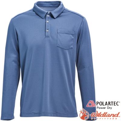 Wildland 荒野 P1612-69灰藍色 男POLARTEC長袖功能衣