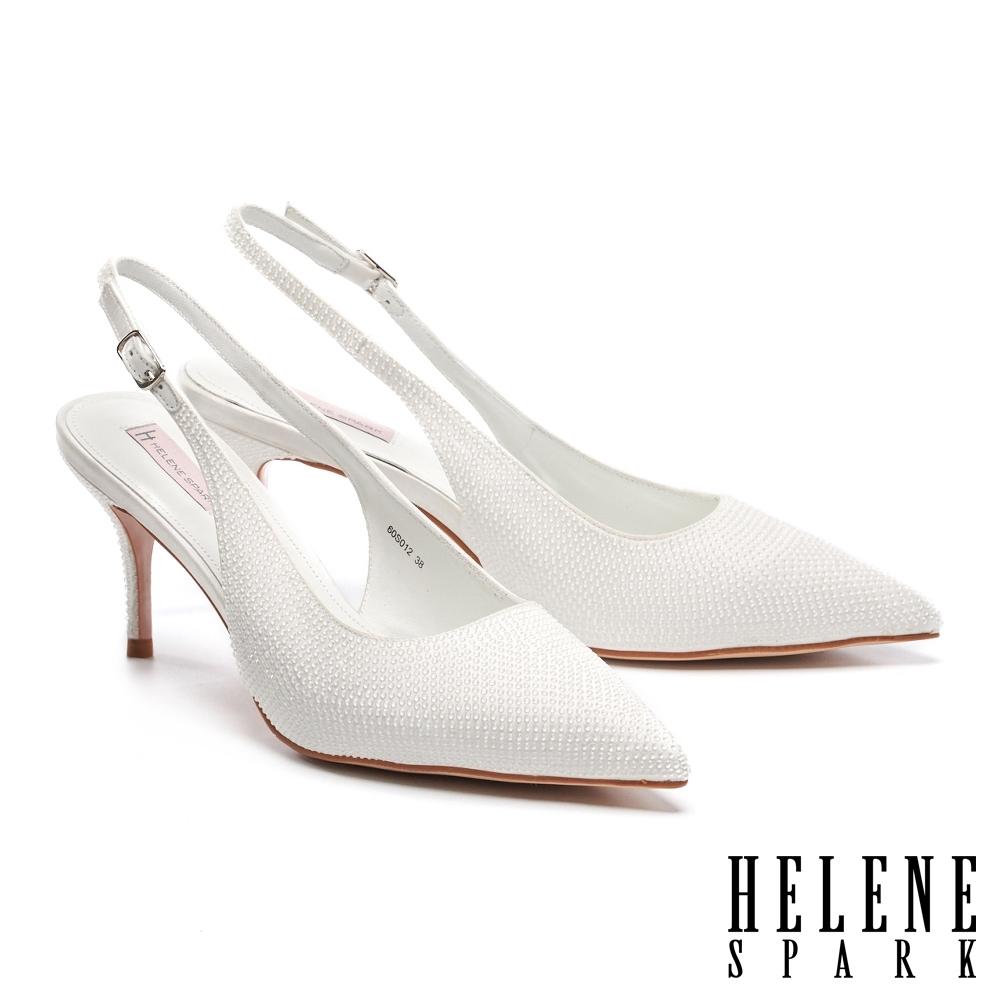 高跟鞋 HELENE SPARK 細緻晶鑽純色緞布後繫帶尖頭高跟鞋-白