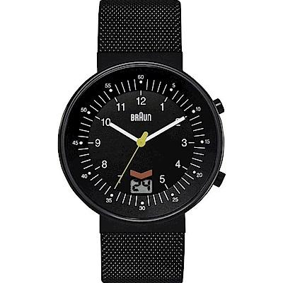 BRAUN德國百靈 日期窗 網織不鏽鋼錶鍍黑色IP -黑色/42mm