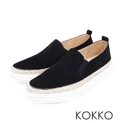 KOKKO -極簡麻編滾邊厚底真皮懶人鞋-霧面黑