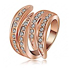RJ New York 時尚經典多層水鑽情人玫瑰金戒指