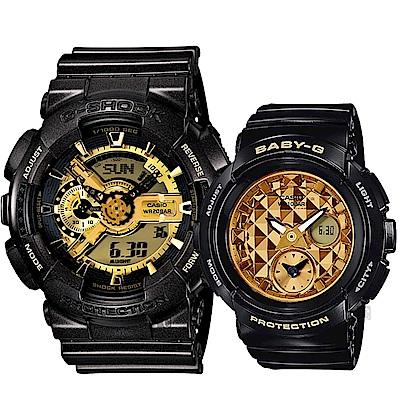 CASIO 卡西歐 重機雙顯情侶手錶 對錶-黑金