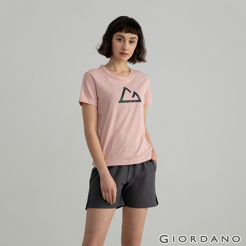 GIORDANO  女裝G-motion快乾棉T恤 - 33 銀粉紅