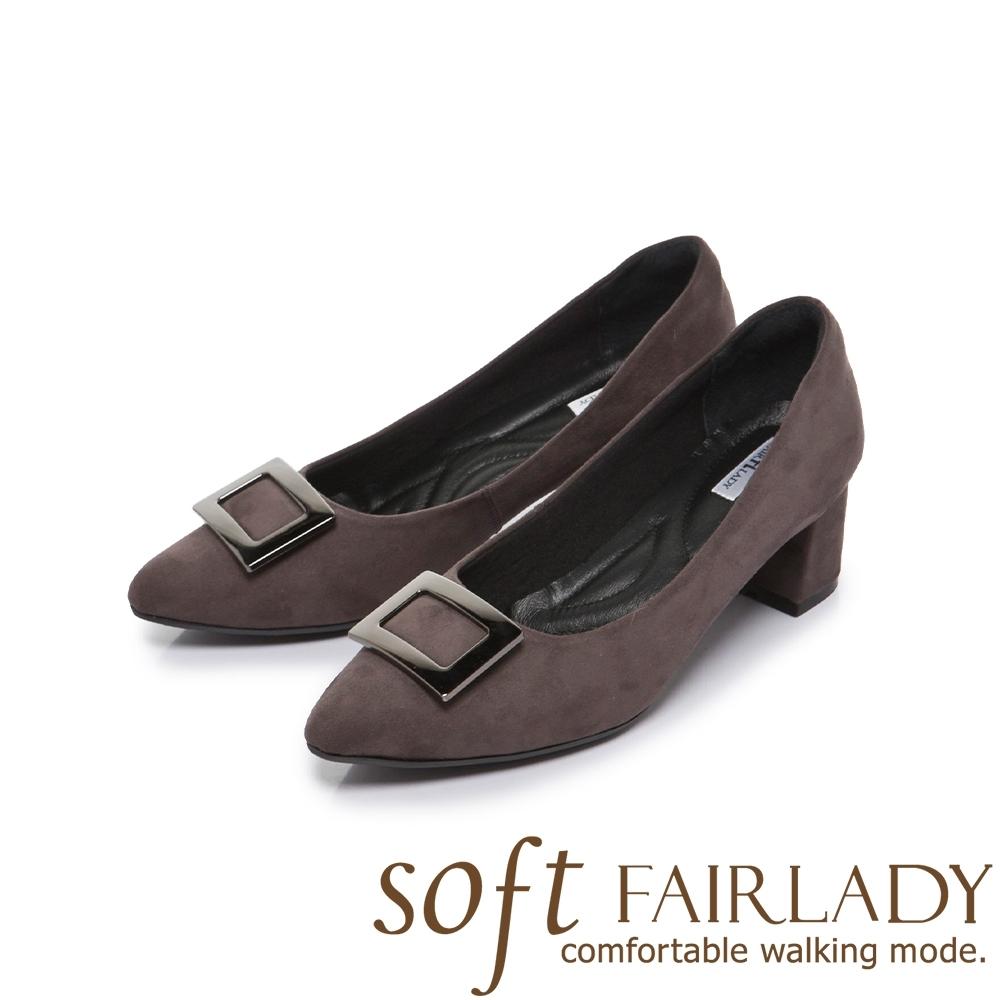 FAIR LADY Soft芯太軟 知性⽅框麂⽪尖頭高跟鞋 灰