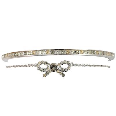 COACH 蝴蝶結手鍊款水鑽手環(銀)