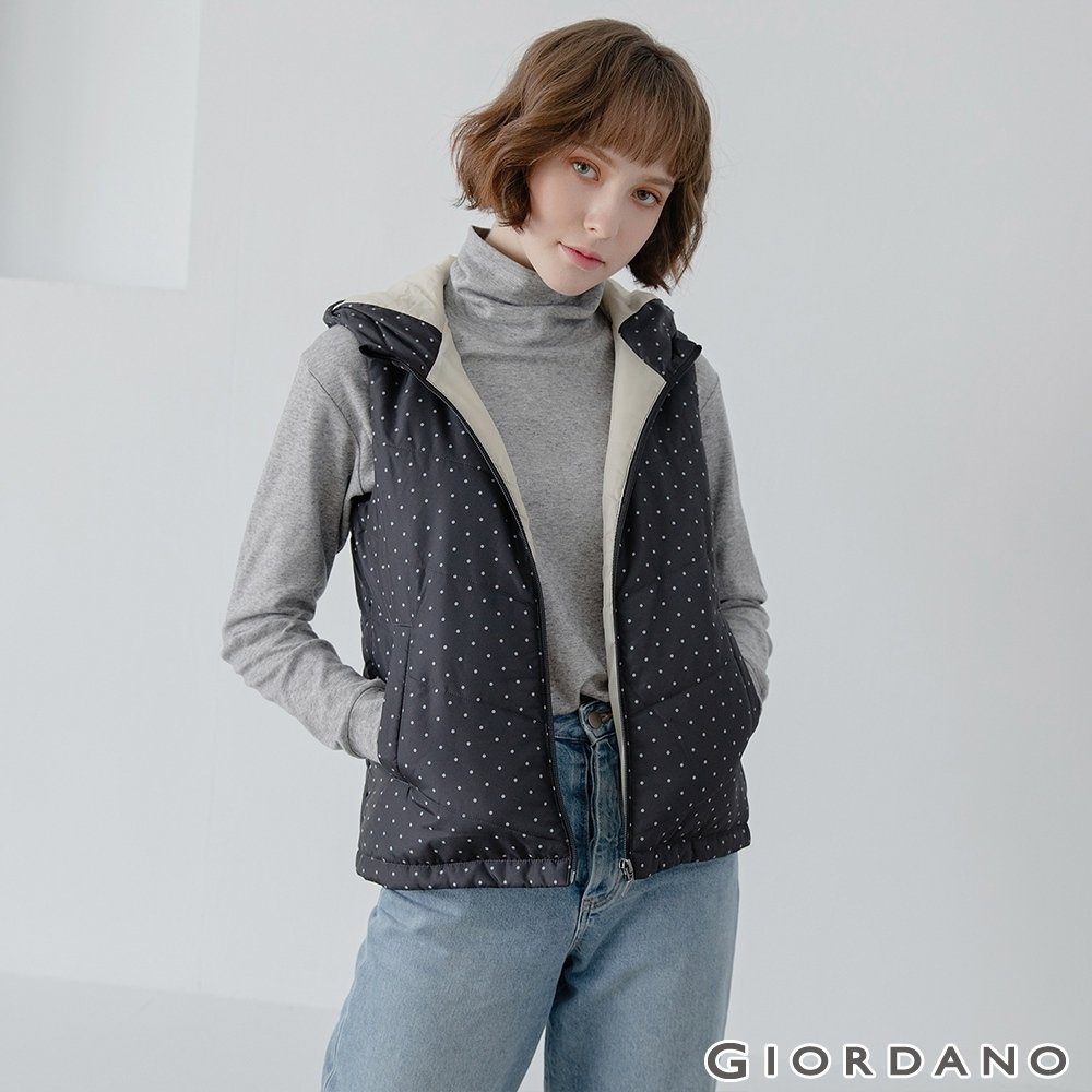 GIORDANO  女裝經典素色保暖連帽背心 - 99 標誌黑/圓點