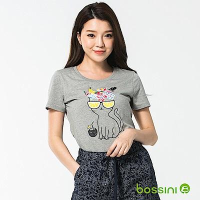 bossini女裝-印花短袖T恤58淺灰