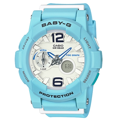 BABY-G衝浪板造型粉嫩春天氣息風格休閒錶( BGA-180BE-2)/粉藍44mm