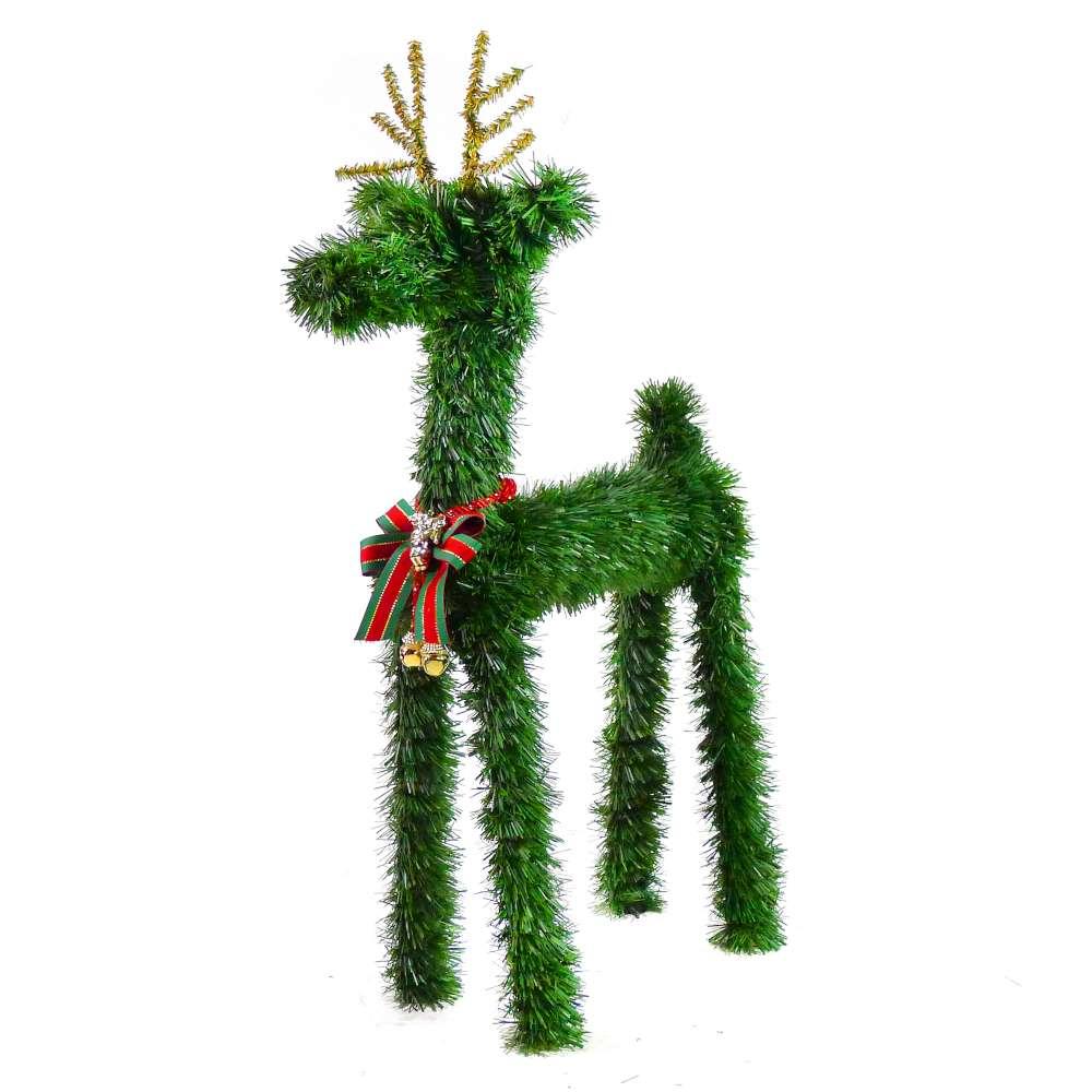 摩達客 可愛超大型落地長腿24吋綠色聖誕小鹿擺飾