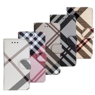 Aguchi 亞古奇 Apple iPhone X/Xs 英倫格紋氣質手機皮套