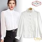襯衫-LIYO理優-法式絲光宮廷風蕾絲襯衫-日本進口面料