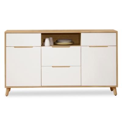 時尚屋  肯詩特烤白雙色5尺餐櫃  寬147x深40x高82.1cm