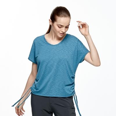 【HAKERS 哈克士】女 抗UV吸排V領抽繩上衣(洋藍)