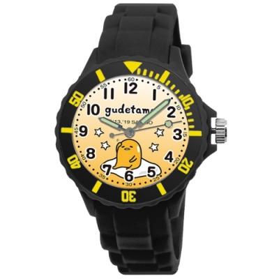 Sanrio三麗鷗二代中型運動彩帶錶34mm蛋黃哥(黑)
