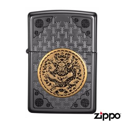 美系Zippo 帝王之徽-黑金浮雕防風打火機#ZA-1-88b