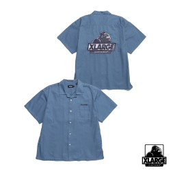 XLARGE S/S OG OPEN COLLAR SHIRT刺繡薄襯衫-藍