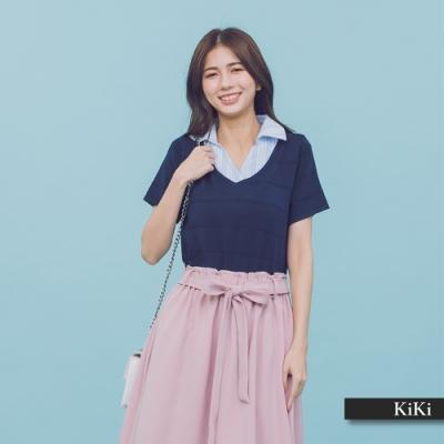 【KiKi】上班族假兩件式-上衣(二色)