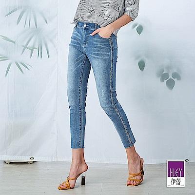 ILEY伊蕾 輕奢燙鑽彈性窄管牛仔褲(藍)