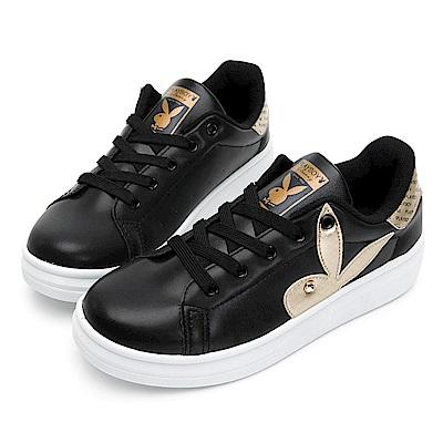 PLAYBOY 後跟品牌logo厚底休閒鞋-黑-Y5718CC