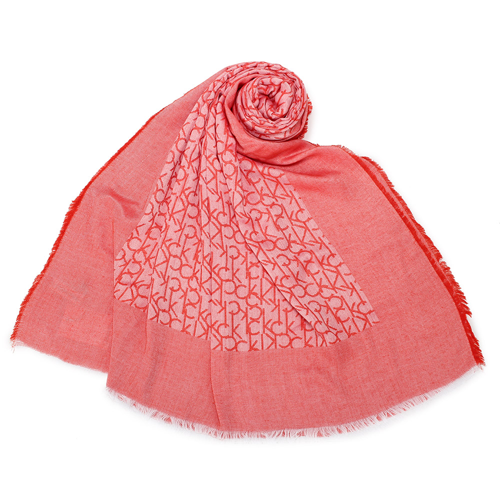 Calvin Klein CK滿版LOGO絲質披肩圍巾-紅色 @ Y!購物