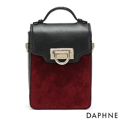 達芙妮DAPHNE-絨面拼接蛇鍊長型小方包-酒紅