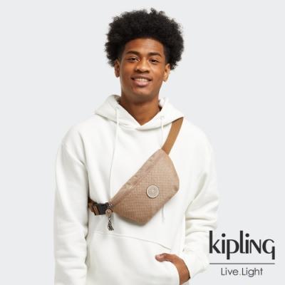 Kipling 烏龍拿鐵色拉鍊休閒斜背包-NEW FRESH