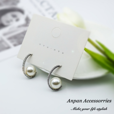 【ANPAN愛扮】韓東大門法式典雅珍珠圓弧滿鑽925銀針耳釘式耳環-銀